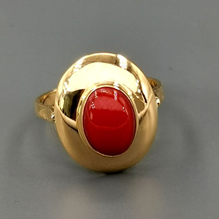 18 kt. Yellow gold - Ring Red jasper