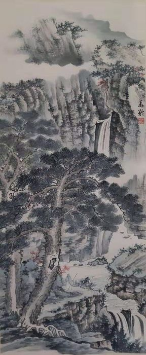 Ink painting - Chinese scroll painting on paper - 《宋美龄-山水》Made after Song Meilin - China - Late 20th century