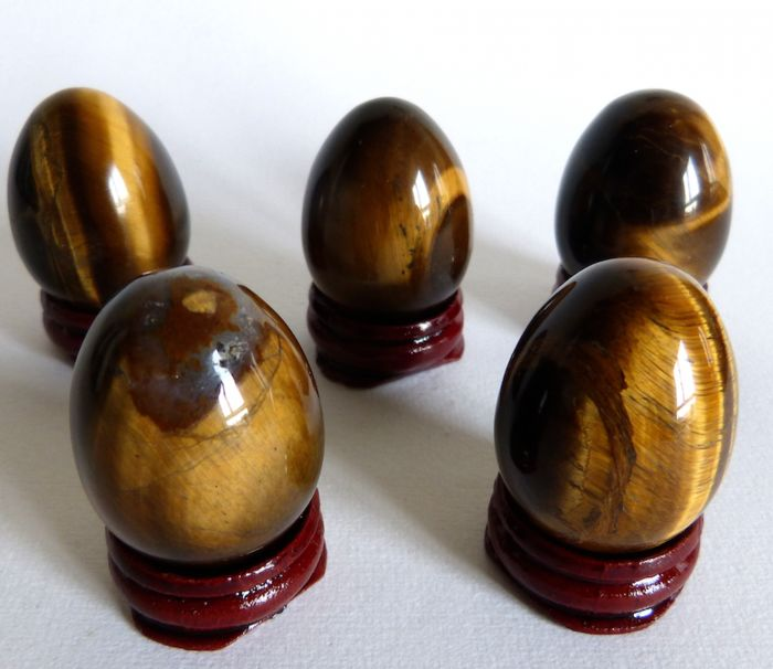 Collection of tiger's eye eggs - 4 cm - 257 g - (5)