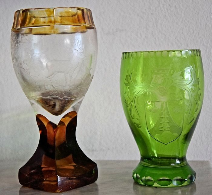 Carved Biedermeier glasses (2) - Crystal