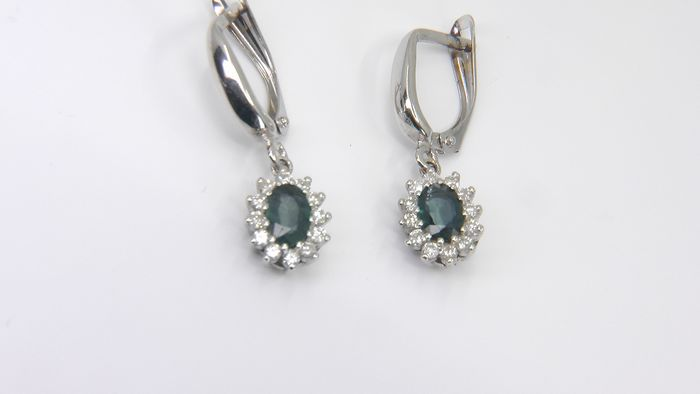 No Reserve Price!  - 14 carats Or blanc - Boucles d'oreilles - 1.36 ct Saphir - Diamants