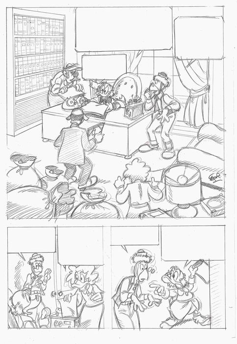 Uncle Scrooge & Gyro  - Original One Page Story - Antonio Carrillo - Pencil Art
