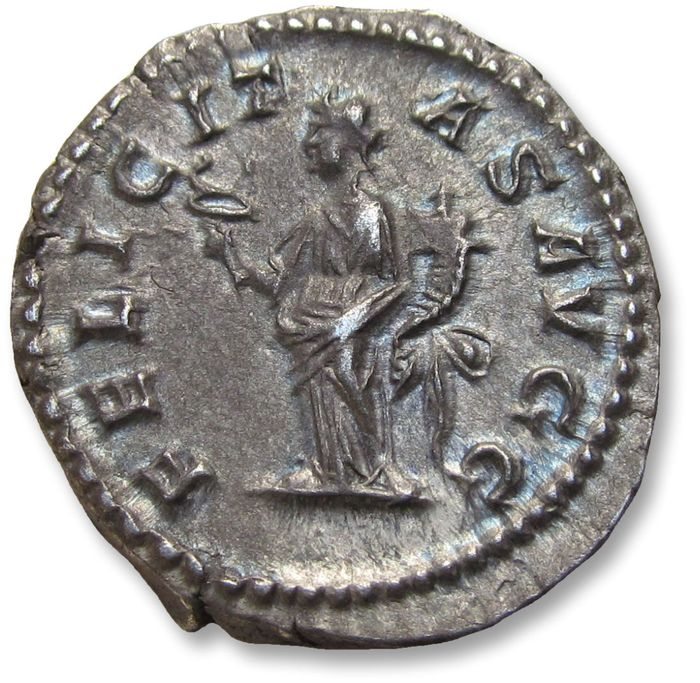 Roman Empire - AR Denarius, Septimus / Septimius Severus - near mint state coin with great toning  -  Rome mint 204-205 A.D. - FELICITAS AVGG, Felicitas standing left - Silver