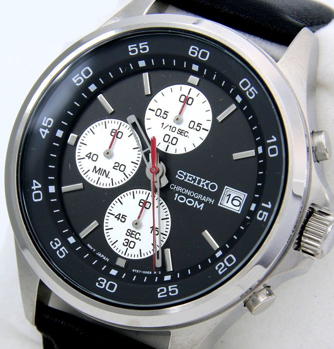 """Seiko - Chronograph """"Sport Dial"""" 100M Leather- """"NO RESERVE PRICE"""" - Hombre - 2011 - actualidad"""