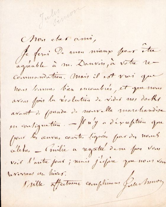 Jules Simon Politic - Autograph; Letter with Recommendations and Commercial Information - 1860/1880