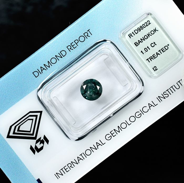 Diamond - 1.01 ct - 明亮型 - Fancy Deep Green - I2 - NO RESERVE PRICE