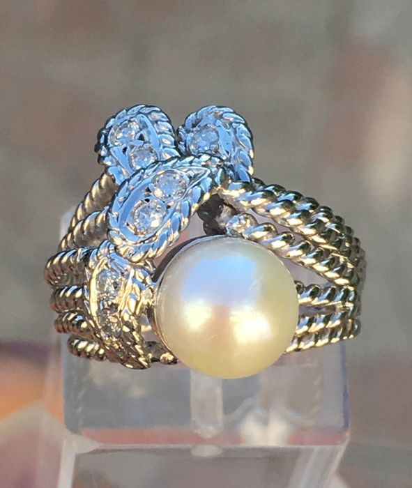 18 karat Akoya pearl, Hvitt gull, 8,5-9 mm - Ring akoya perle diameter 8,5 / 9mm - Diamanter