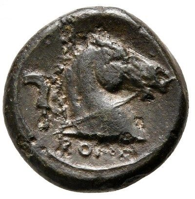 Roman Republic - Anonymous Litra Anonymous minted in Rome between 241-235 B.C. - Mars / Horse's head right, sickle, ROMA. - Bronze