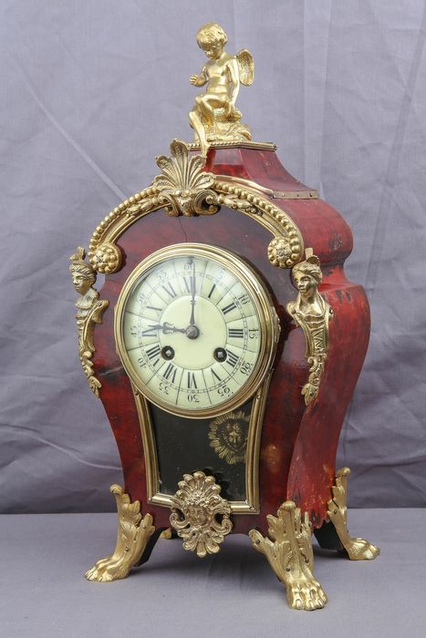 Frans Boulle clock with an angel / putty - Medaille D'argent - Bronze, Wood - 1830/1850