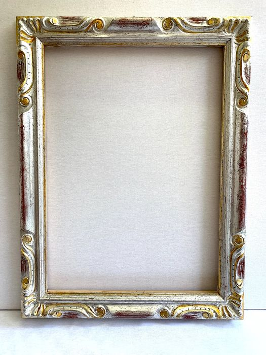 Carved and gilded silver leaf frame, Gouache silver plating - Wood
