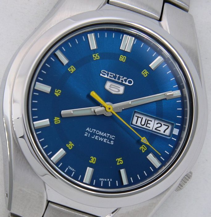 "Seiko - Unisex Automatic 21 jewels ""Sport Blue - Yellow Dial"" - ""NO RESERVE PRICE"" - Unisex - 2018"