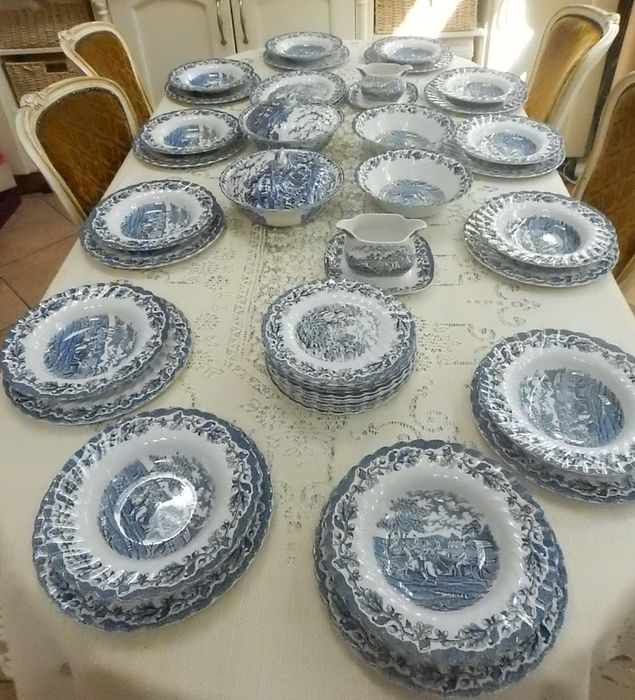 "Myott - Country Life 10"" Blue & White Dinner servies - Porselein"