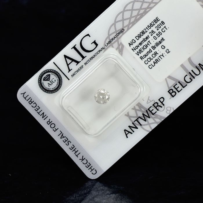Diamant - 0.55 ct - Brilliant - G - I2 - NO RESERVE PRICE