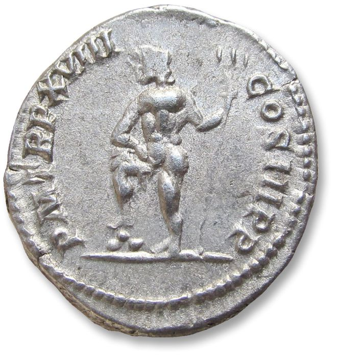 Roman Empire - AR Denarius, Septimus / Septimius Severus - variety WITHOUT additional BRIT title - Rome mint 210 A.D. - P M TR P XVIII COS III P P, Neptune standing left - Silver