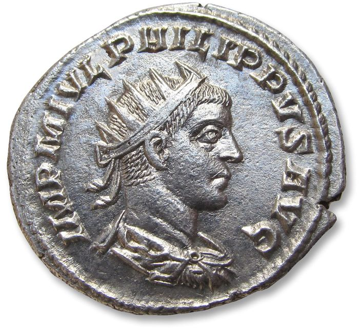 Roman Empire - AR antoninianus, Philip II as Augustus - near mint state coin - ANTIOCH mint 247 A.D. - P M TR P IIII COS P P, Felicitas standing left - Silver