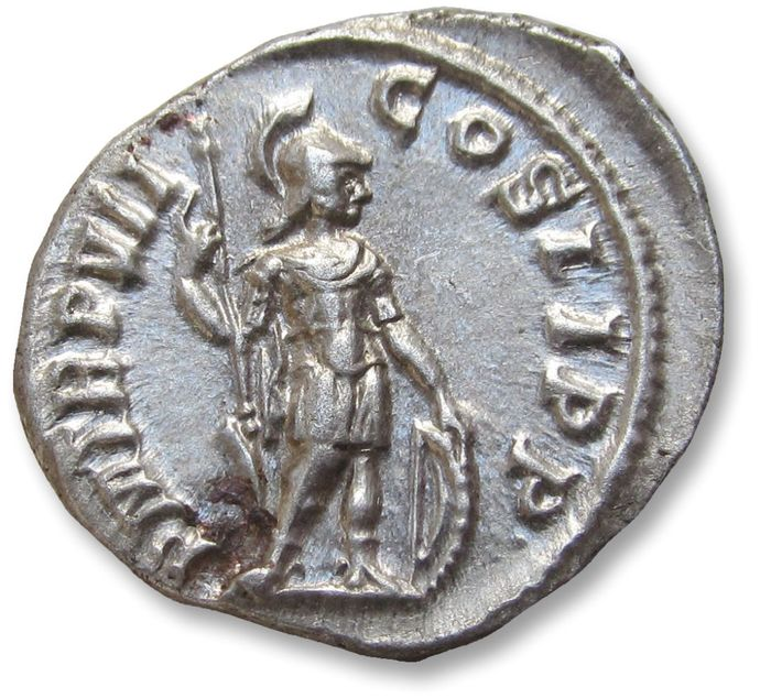 Roman Empire - AR Denarius - in superb near mint state condition - Severus Alexander, Rome mint 228 A.D. - P M TR P VII COS II P P, Mars standing right - Silver