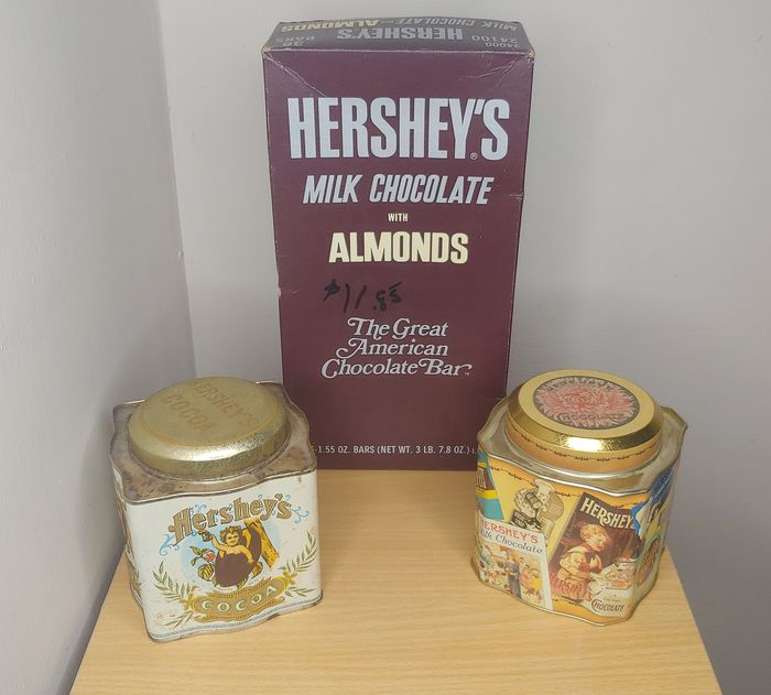 Hershey's  - Vintage Candy Chocolate Tins  (3) - Metal and Carton box
