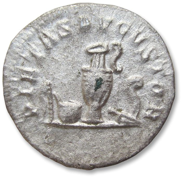 "Roman Empire - AR antoninianus, Philip II as Caesar (son of Philip I ""The Arab""). Rome mint 244-246 A.D. - PIETAS AVGVSTOR, emblems of the pontificate - Silver"