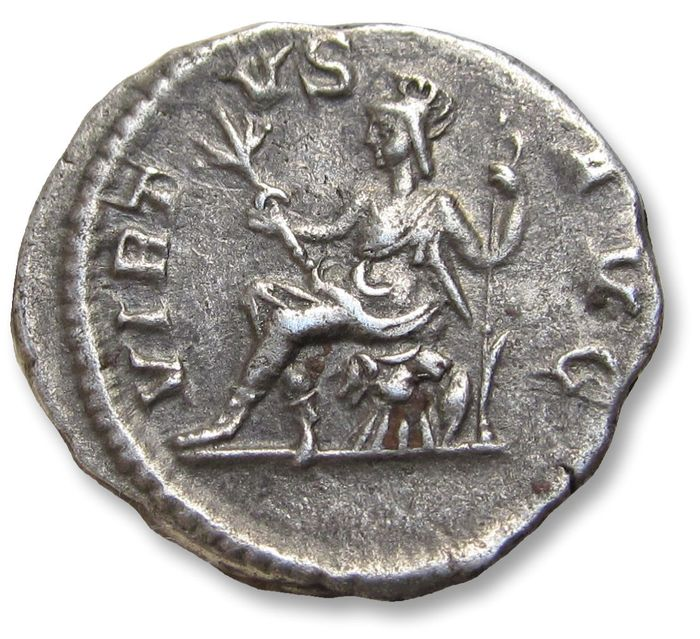 Roman Empire - AR Denarius, Severus Alexander, Rome 230 A.D. - VIRTVS AVG, Virtus seated left on cuirass - Silver