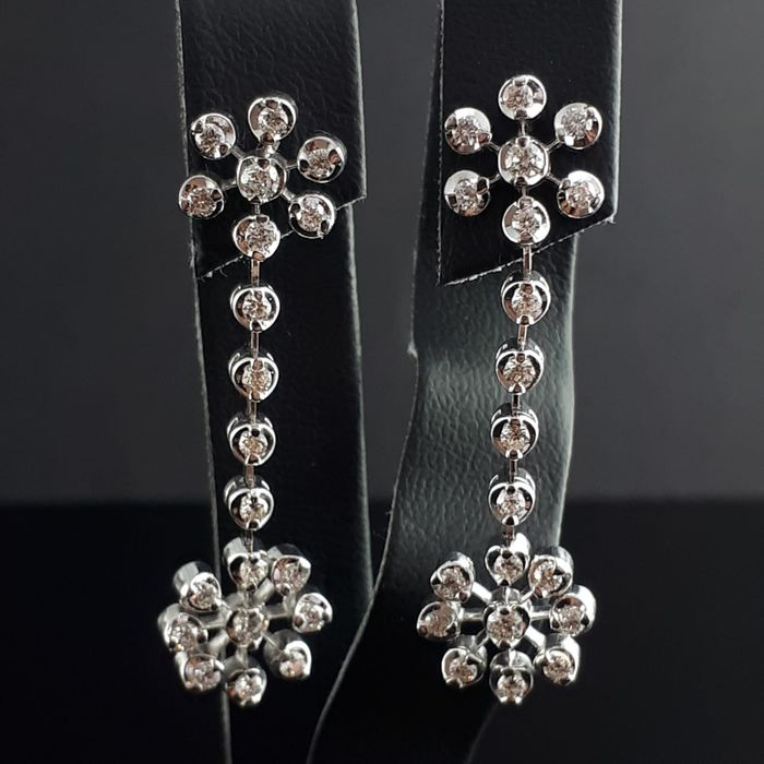 18 carats Or blanc - Boucles d'oreille en diamant - 1.03 ct Diamant