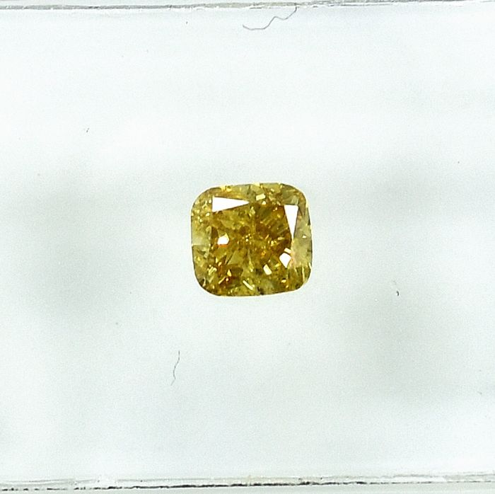 Diamant - 0.34 ct - Kissen - Natural Fancy Vivid Yellow - I1 - NO RESERVE PRICE