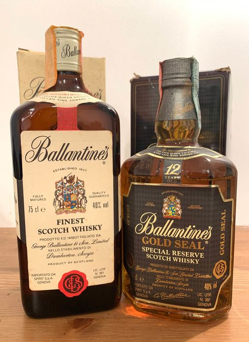 Ballantine's Finest & Gold Seal 12 years old  - b. 1980/90s - 75cl - 2 bottles