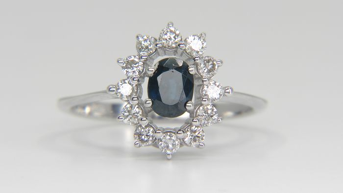 14 quilates Oro blanco - Anillo - 0.76 ct Zafiro - Diamantes