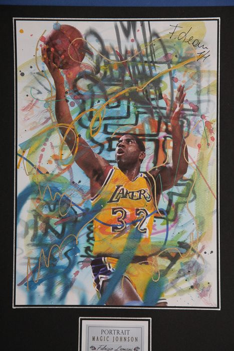 Magic Johnson - Mixed technique 1/1 Signed