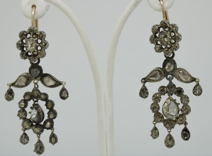 14 kt. Silver, Yellow gold - Earrings - 2.01 ct Diamond