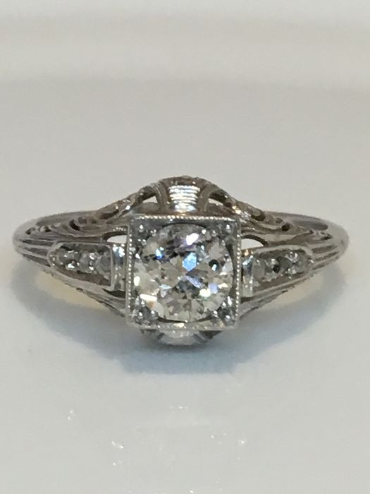 Witgoud - Ring, Art Deco - 0,75 ct Diamant - Periode 1930 ** GEEN RESERVE **