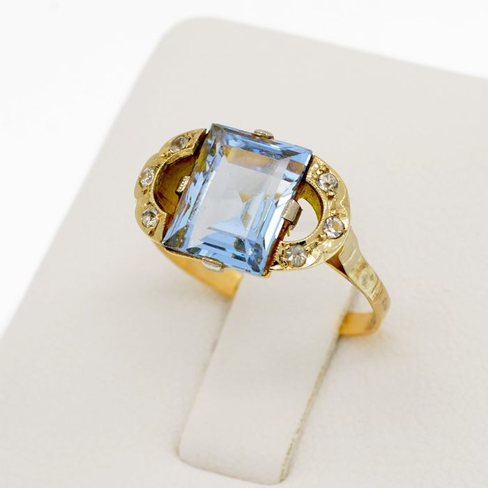 18 kt. Yellow gold - Ring - 3.50 ct Spinel - Sapphire