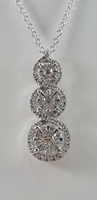 Comete - 18 quilates Oro blanco - Collar con colgante - 0.39 ct Diamante