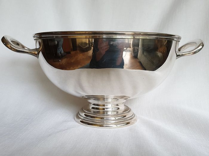 Heavily silvered marked bowl on foot - Silverplate - Italy - Second half 20th century