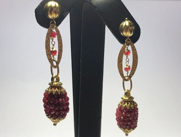 18 kt. Yellow gold - Earrings Ruby