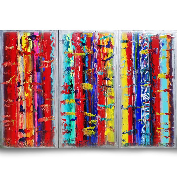 Ksavera - Large Abstract A354 - colorful triptych