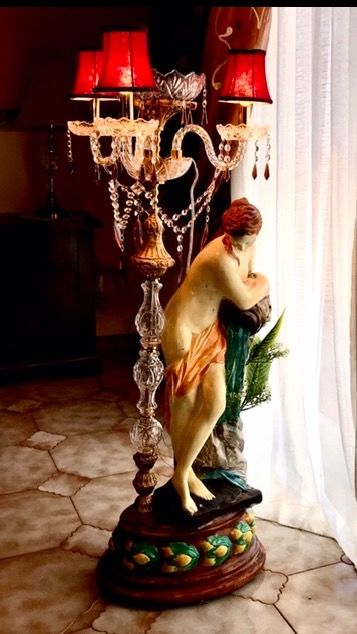 Romolo Andrea gessi - Statue with Lamp - Mineral Plaster
