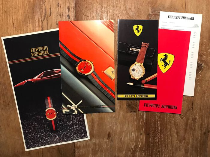 Brochures / catalogues - Ferrari - Official FERRARI Formula Cartier Watches brochures and price lists - from the 80's - 1983-1989