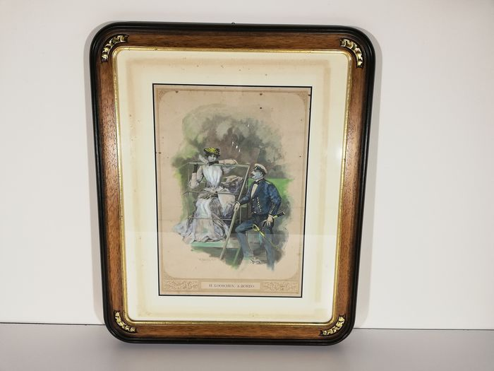 Elegant carved and gold leaf decorated tray with antique nautical lithograph - Wood and cardboard