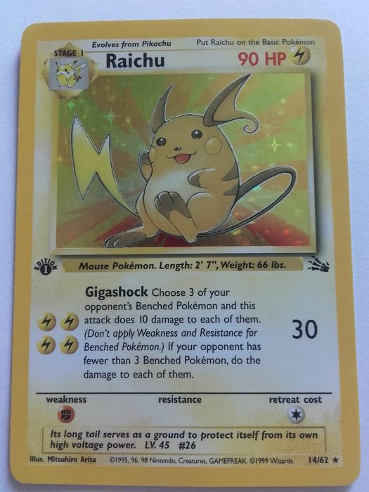 Wizards of the Coast - Pokémon - Trading card 1st edition Raichu - 1999