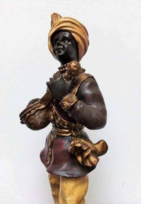 Blackamoor look Moor, Mauro, with music instrument, richly decorated - Rococo Style - polyresin?
