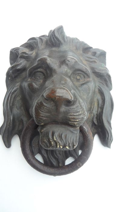 Bronze lion head - Bronze (cold painted), Iron (wrought) - Late 19th century