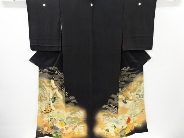 Kimono - Silk - Kimono with Royal car, Pine, Crane and Chrysanthemum patterns - Japan - mid 20th century