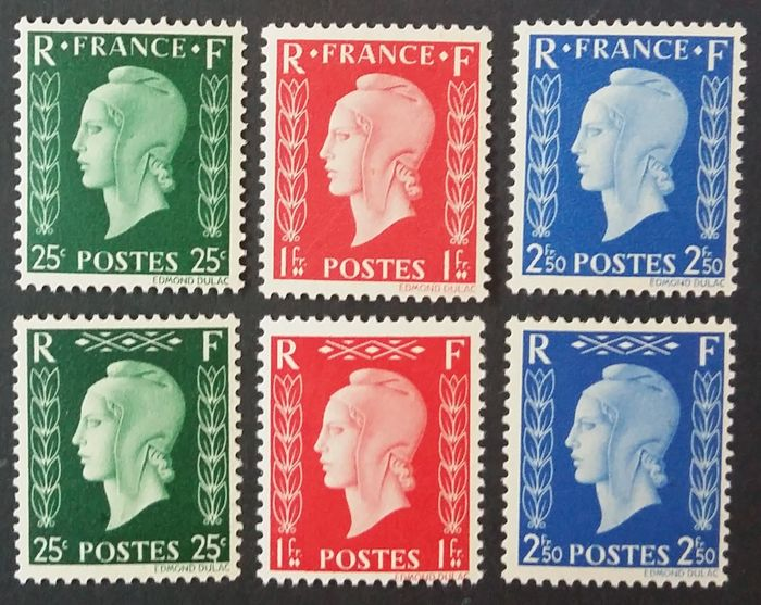 Frankreich 1942 - Marianne de Dulac, unissued stamps - Yvert 701A-701F