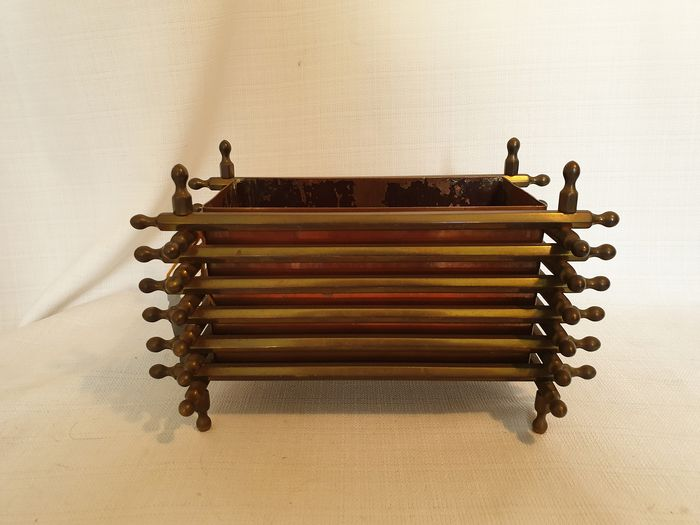 Heavy 3.4 kg special jardiniere with bars, copper or bronze - Copper and brass (or bronze)