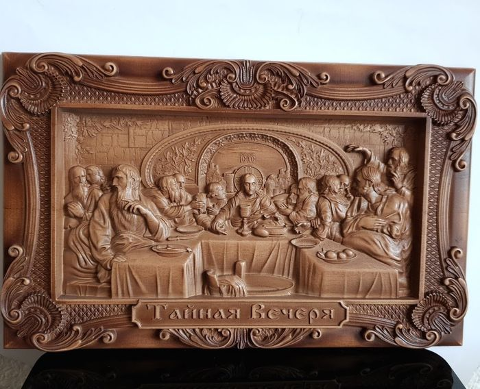 """Icon,  """"Last supper""""  Russian carved  - Byzantine - wood beech"""