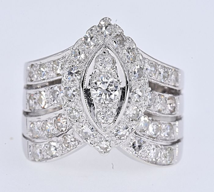White gold - Ring - 1.22 ct Diamond