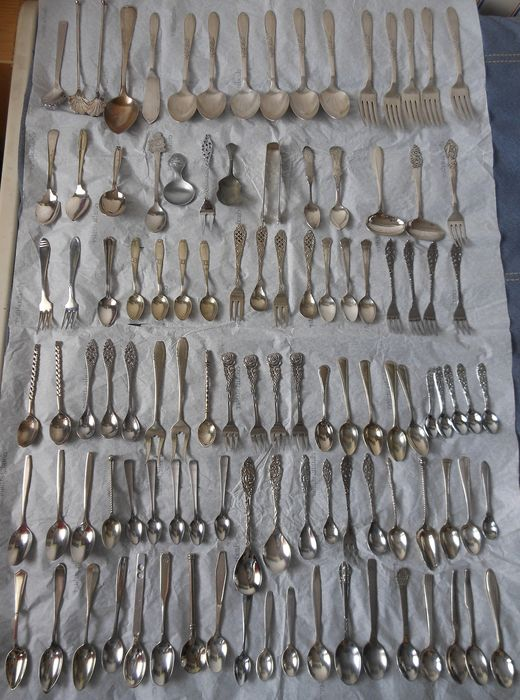 Various pieces of cutlery from large to small (179) - From simple material to silver-plated