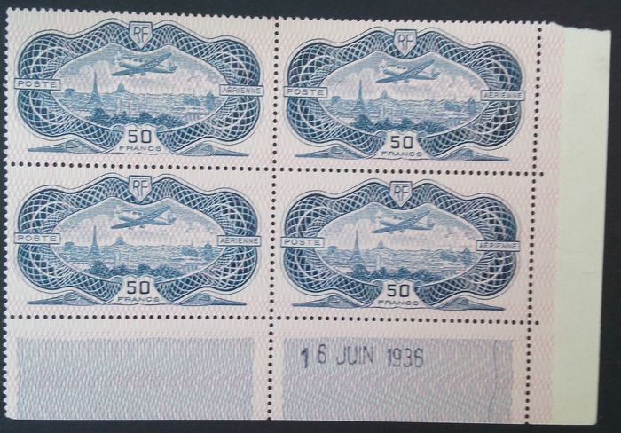 Frankrijk 1936 - 50 francs ultramarine with inverted burelage, block of 4, dated corner - Yvert Poste aérienne 15