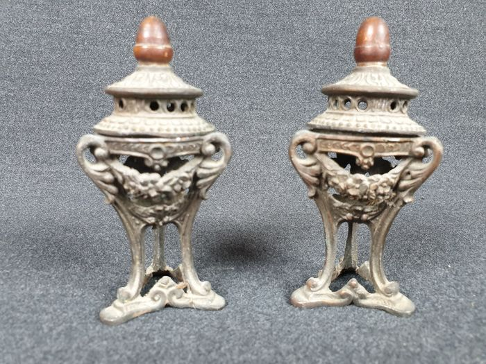 Ancient pair of burning incenses (2) - Antimony