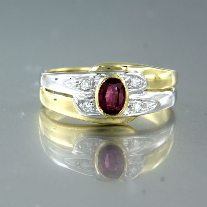 18 kt Gold, Weißgold - Ring - 0.50 ct Rubin - Diamant